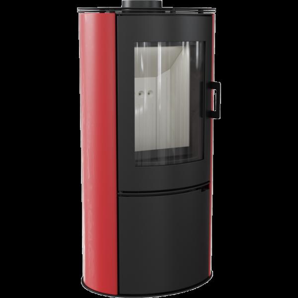 Кафельная печь-камин Kratki KOZA AB S/DR кафель красная (8,0 кВт)