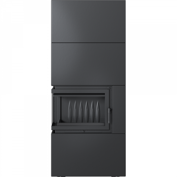 Камін Kratki SIMPLE 12 BS ліва в обудові BOX стальний - чорний