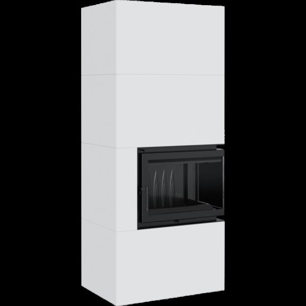 Камин Kratki SIMPLE 12 BS правая в корпусе BOX стальной - белый