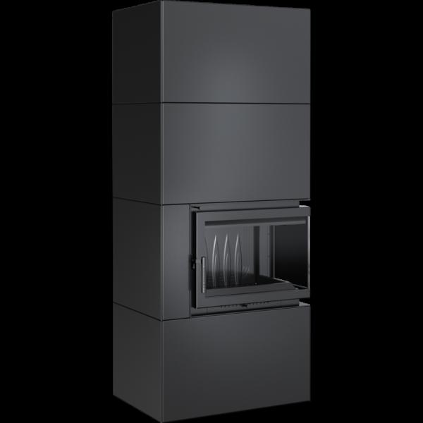 Камин Kratki SIMPLE 12 BS правая в корпусе BOX стальной - черный