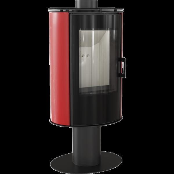 Стальная печь-камин Kratki KOZA AB S/N/O/DR GLASS кафель красная (8,0 кВт)