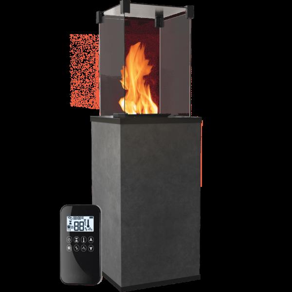 Газовый обогреватель Kratki PATIO керамогранит BLEND NERO - пульт (8,2 кВт)