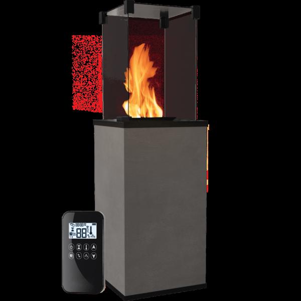 Газовый обогреватель Kratki PATIO керамогранит CALCE ANTRACITE - пульт (8,2 кВт)