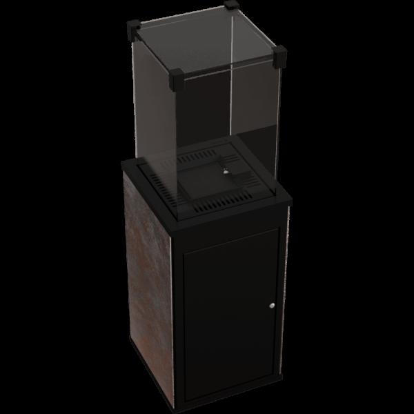 Газовий обігрівач Kratki PATIO MINI керамограніт OXIDE NERO - ручне управління (8,2 кВт)